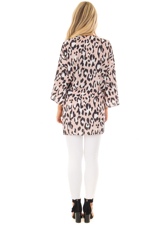 Dusty Pink Leopard Print Kimono with Flare Sleeves back full body