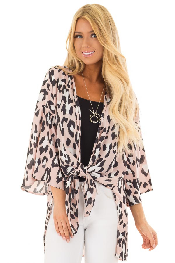 Dusty Pink Leopard Print Kimono with Flare Sleeves front close up