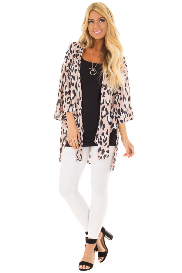 Dusty Pink Leopard Print Kimono with Flare Sleeves front full body