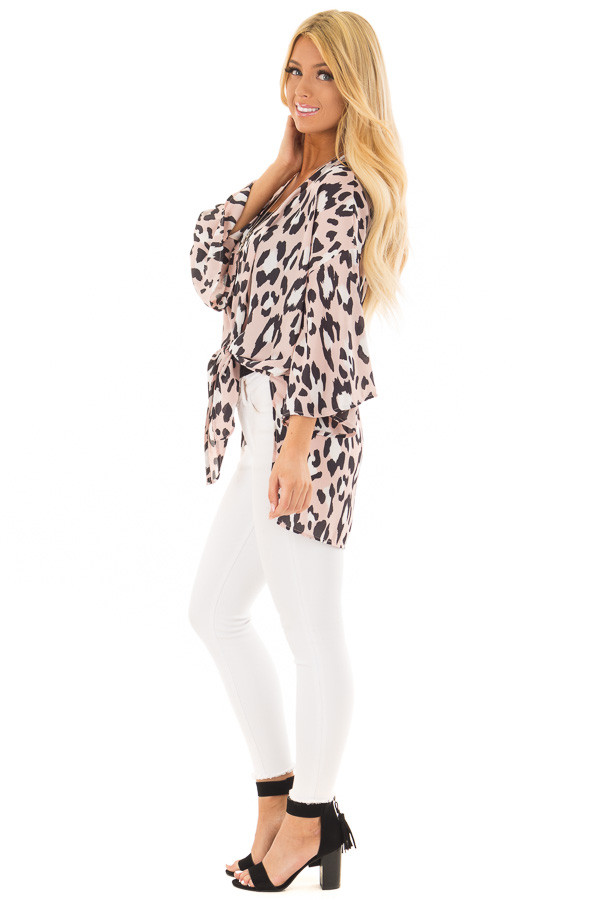 Dusty Pink Leopard Print Kimono with Flare Sleeves side full body