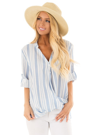 Sky Blue and Off White Striped Blouse with Crossover Hem front close up
