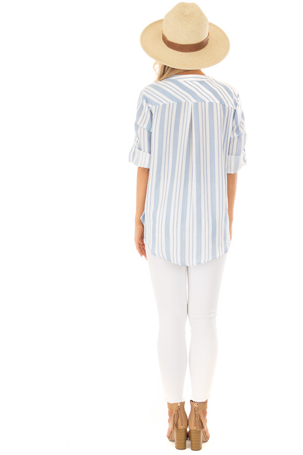 Sky Blue and Off White Striped Blouse with Crossover Hem back full body