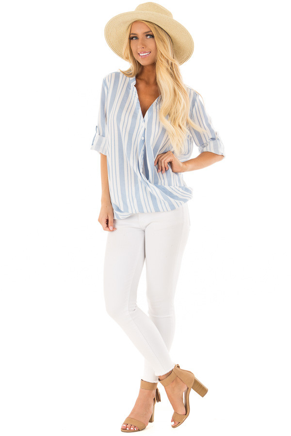 Sky Blue and Off White Striped Blouse with Crossover Hem front full body