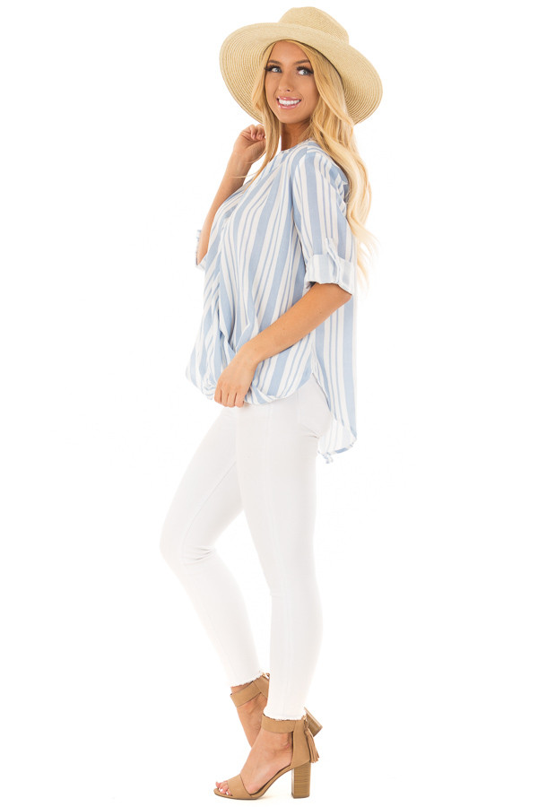 Sky Blue and Off White Striped Blouse with Crossover Hem side full body