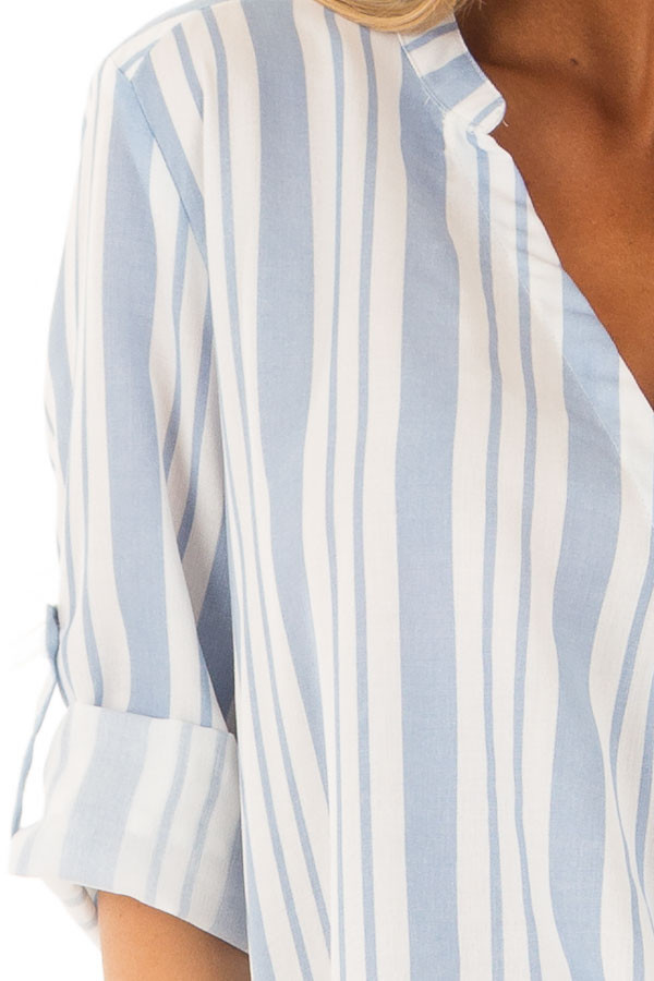 Sky Blue and Off White Striped Blouse with Crossover Hem detail