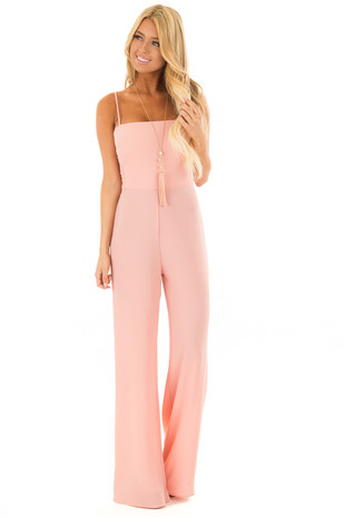 Blush Jumpsuit with Back Tie Detail front full body