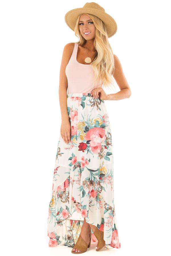 Cream Floral Print High Low Skirt front full body