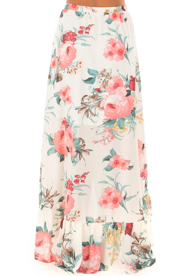 Cream Floral Print High Low Skirt back view