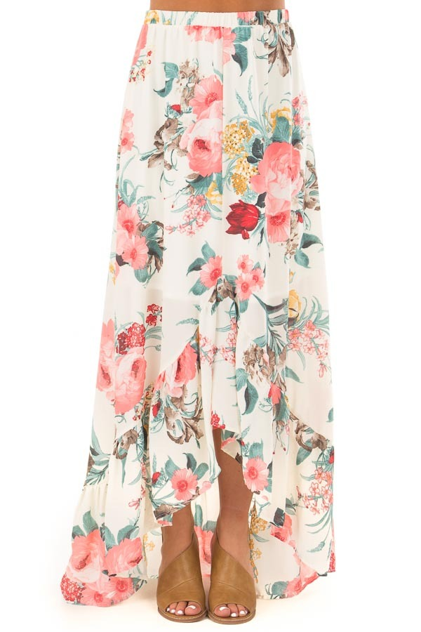 Cream Floral Print High Low Skirt front view