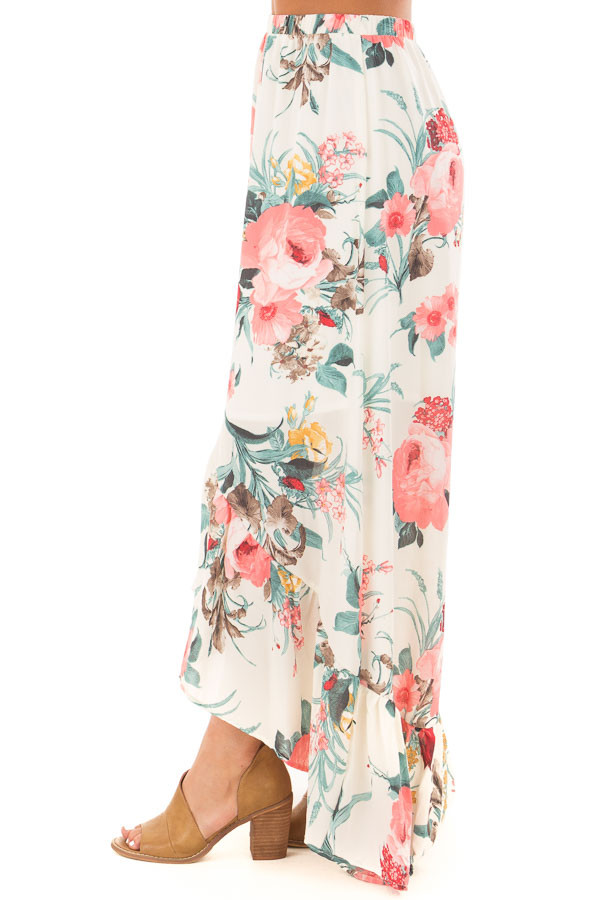 Cream Floral Print High Low Skirt side view