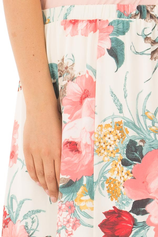 Cream Floral Print High Low Skirt detail