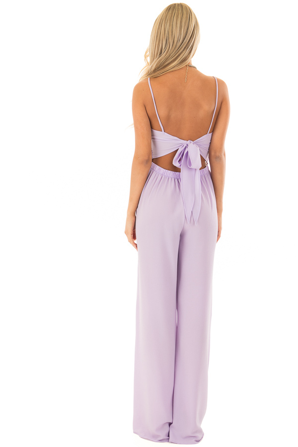 Lilac Jumpsuit with Back Tie Detail back full body