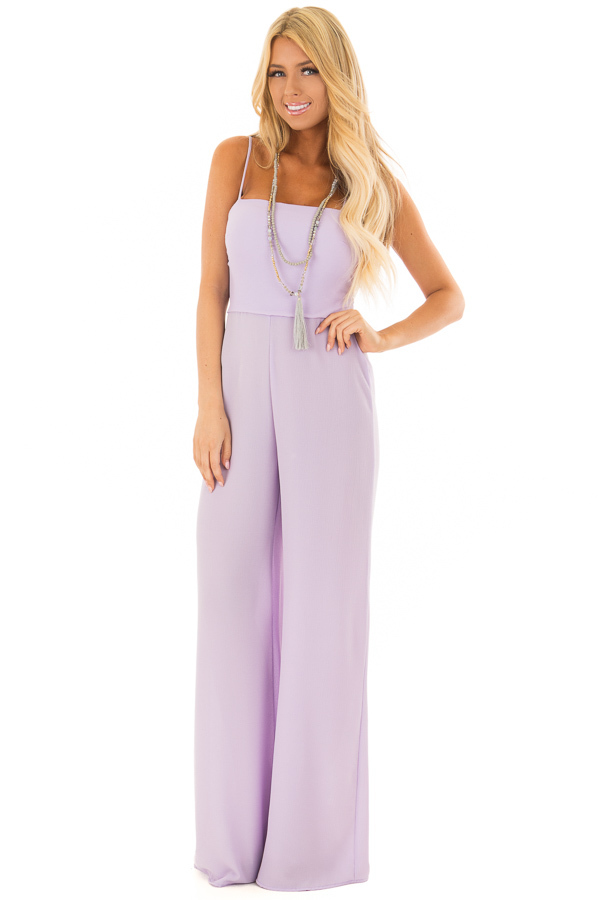Lilac Jumpsuit with Back Tie Detail front full body