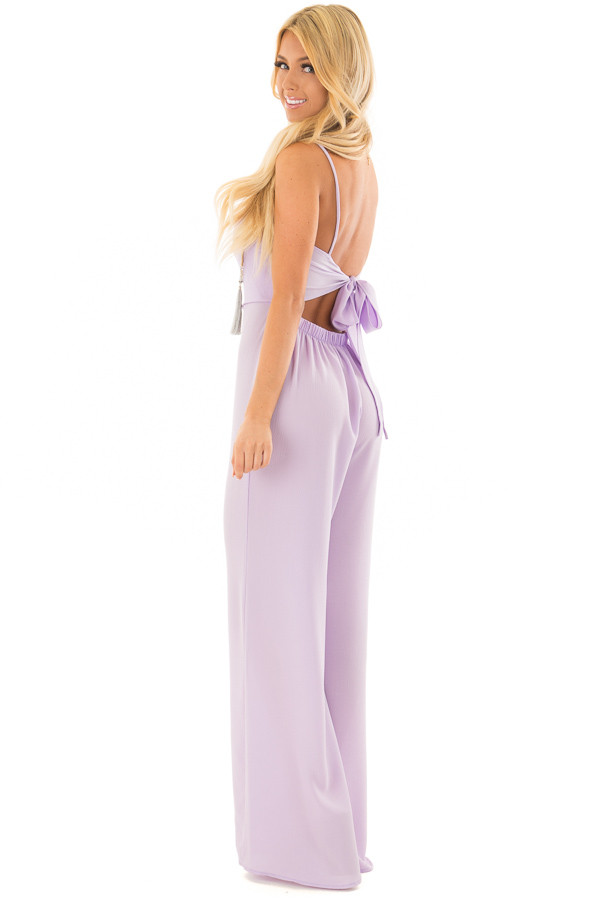 Lilac Jumpsuit with Back Tie Detail side full body