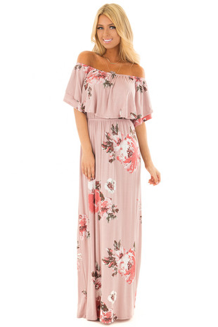 Dusty Mauve Floral Print Layered Off the Shoulder Maxi Dress front full body