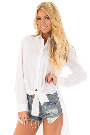 White Button Up Blouse with High Side Splits front close up