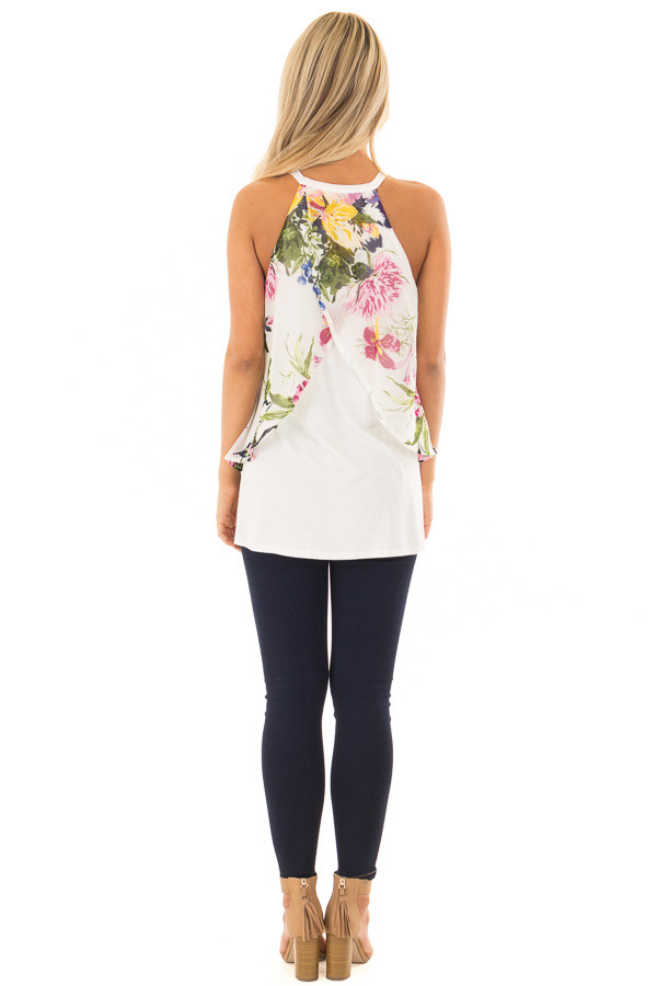 Ivory Tank Top with Sheer Floral Print Overlay back full body