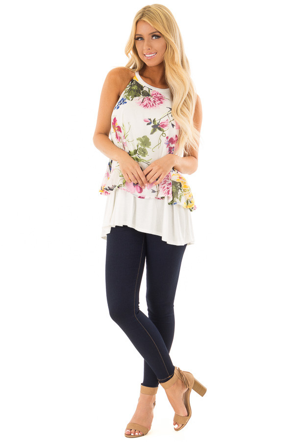 Ivory Tank Top with Sheer Floral Print Overlay front full body