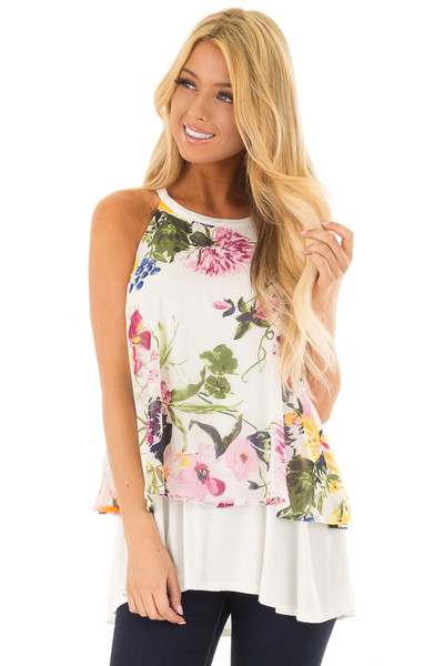 Ivory Tank Top with Sheer Floral Print Overlay back close up