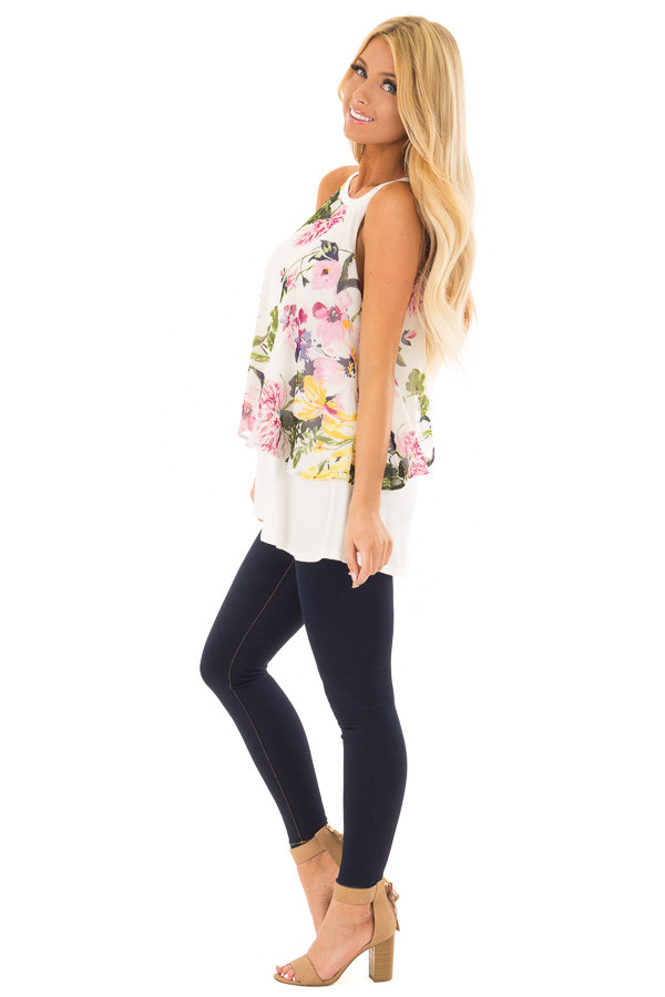 Ivory Tank Top with Sheer Floral Print Overlay side full body