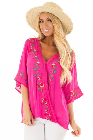 Hot Pink Surplice Top with Embroidery Detail front close up