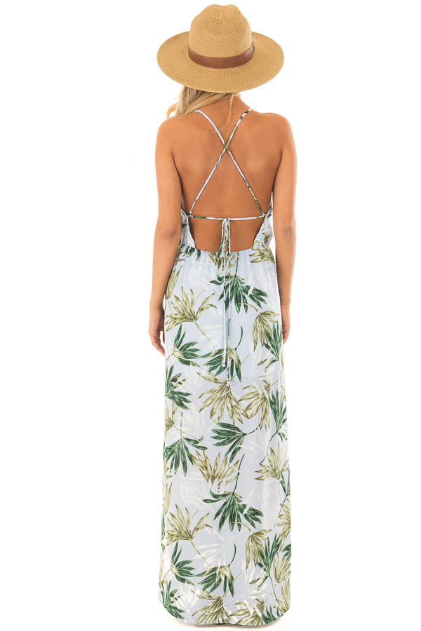 Light Blue Leaf Print Maxi Dress with Open Criss Cross Back back full body