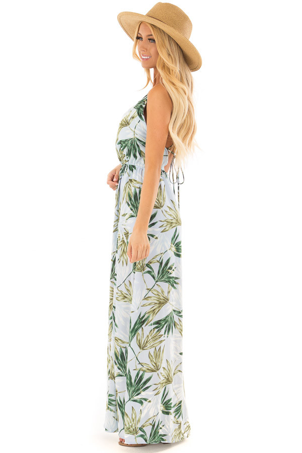 Light Blue Leaf Print Maxi Dress with Open Criss Cross Back side full body