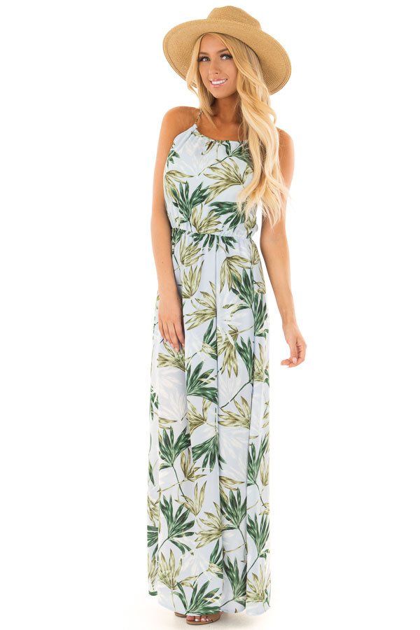 Light Blue Leaf Print Maxi Dress with Open Criss Cross Back front full body
