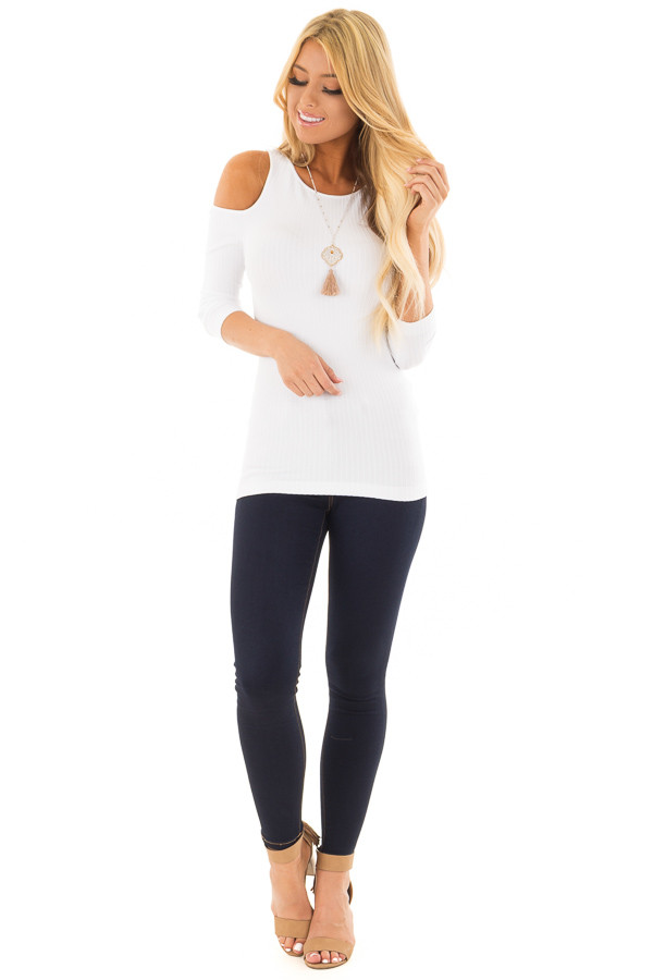 White Ribbed Knit Cold Shoulder Comfy Top front full body