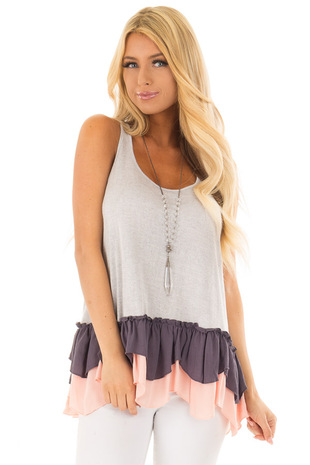 Silver Racerback Tank Top with Multicolored Ruffled Hem front close up