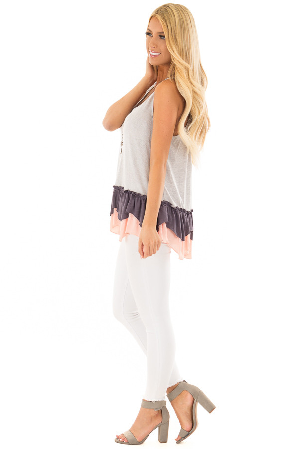 Silver Racerback Tank Top with Multicolored Ruffled Hem side full body