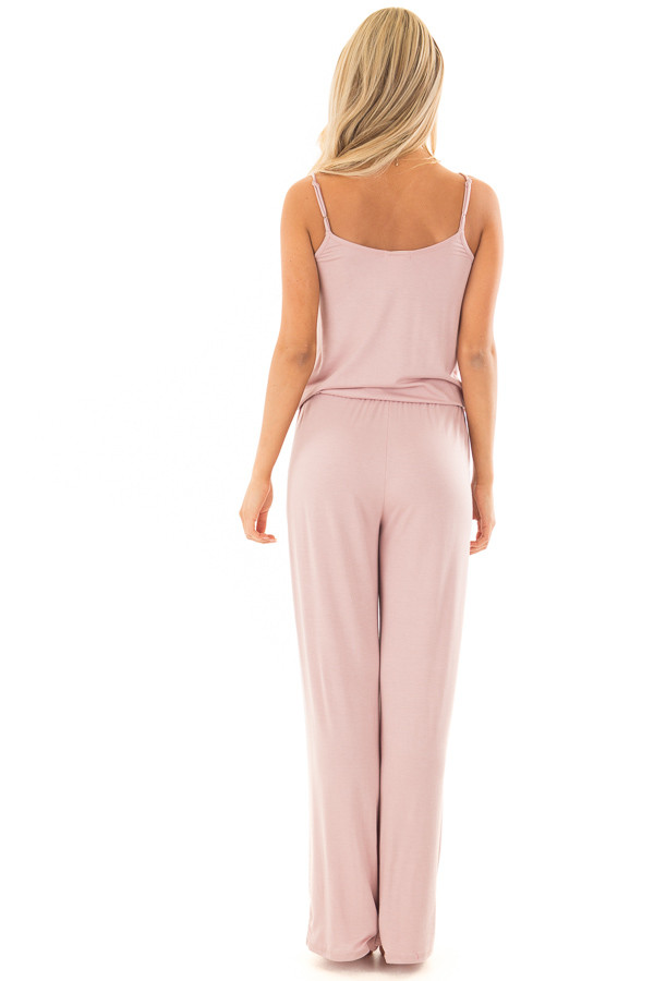 Mauve Sleeveless Jumpsuit with Elastic Waist Tie back full body
