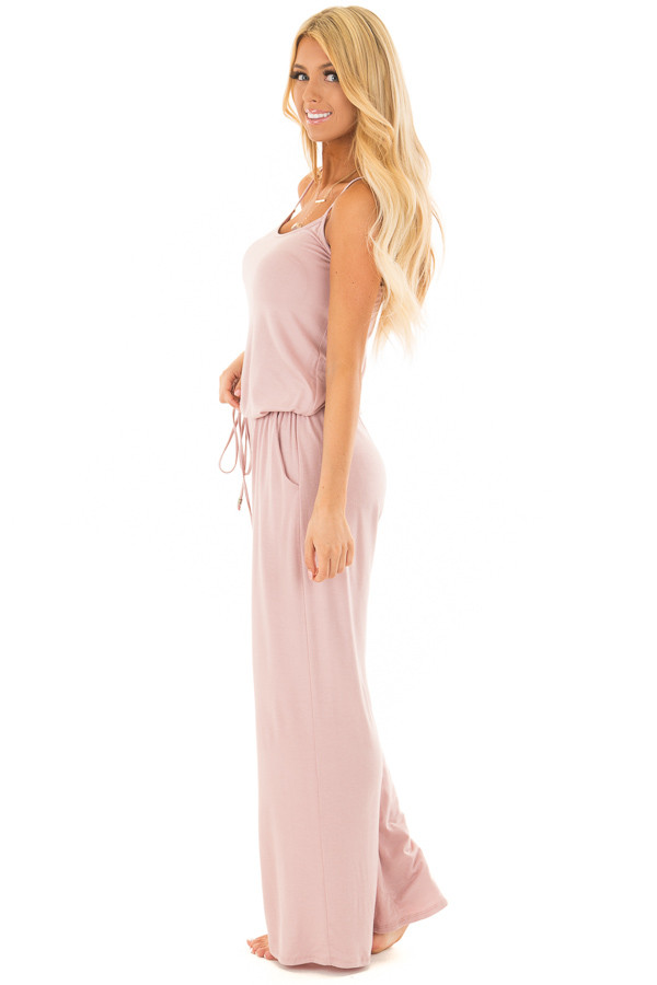 Mauve Sleeveless Jumpsuit with Elastic Waist Tie side full body