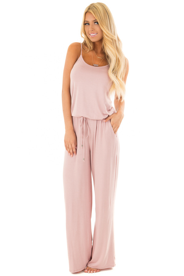 Mauve Sleeveless Jumpsuit with Elastic Waist Tie front full body