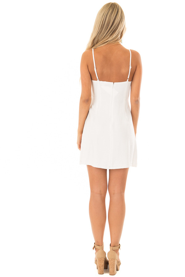 Off White Mini Dress with Intricate Crochet Details back full body