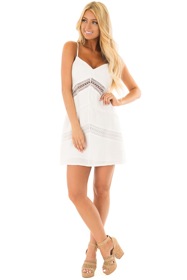 Off White Mini Dress with Intricate Crochet Details front full body