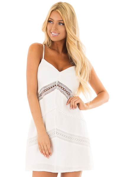 Off White Mini Dress with Intricate Crochet Details front close up