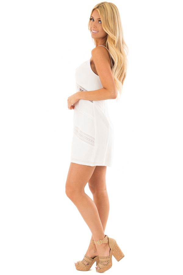 Off White Mini Dress with Intricate Crochet Details side full body