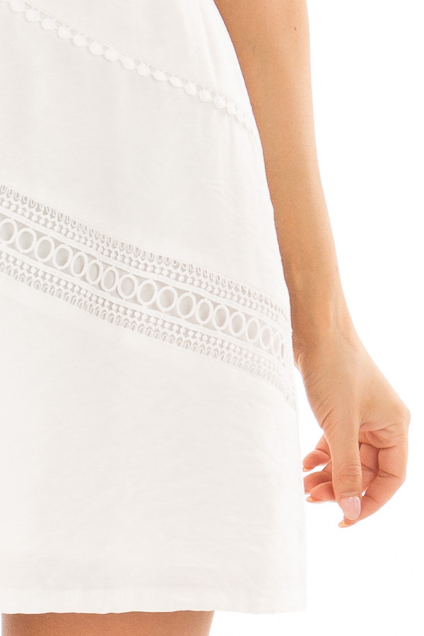 Off White Mini Dress with Intricate Crochet Details detail