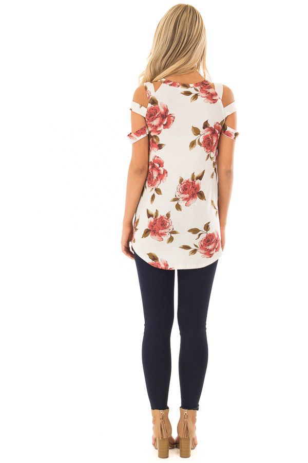 Oatmeal Floral Caged Short Sleeve Top back full body