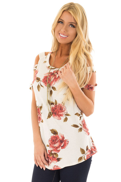 Oatmeal Floral Caged Short Sleeve Top front close up