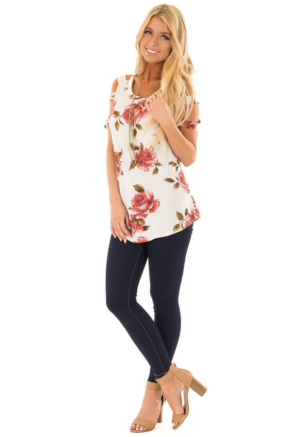 Oatmeal Floral Caged Short Sleeve Top front full body