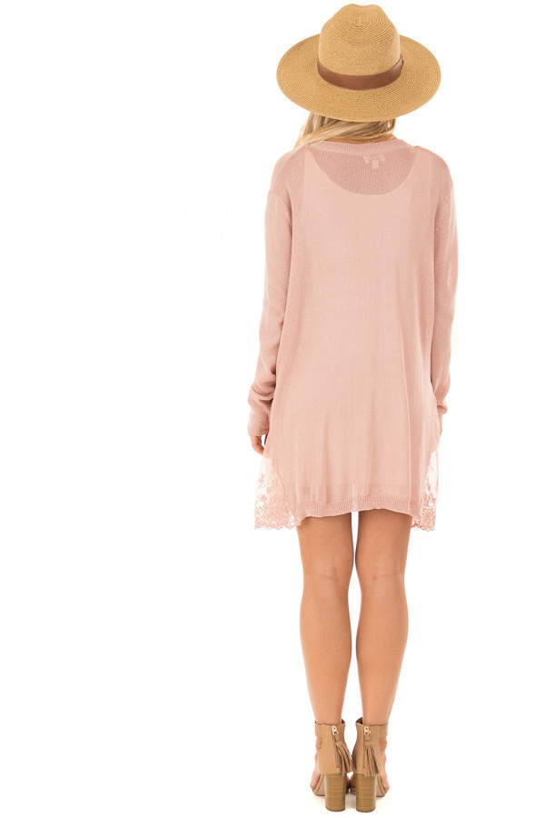 Blush Open Front Long Sleeve Cardigan with Lace Details back full body