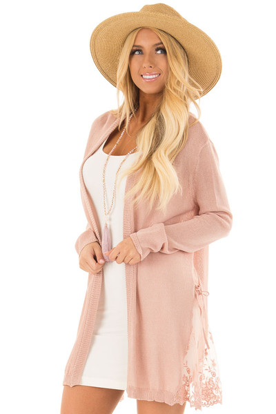 Blush Open Front Long Sleeve Cardigan with Lace Details front close up