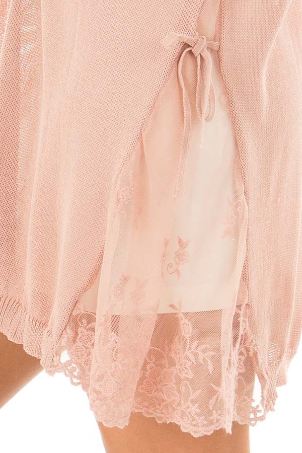Blush Open Front Long Sleeve Cardigan with Lace Details detail