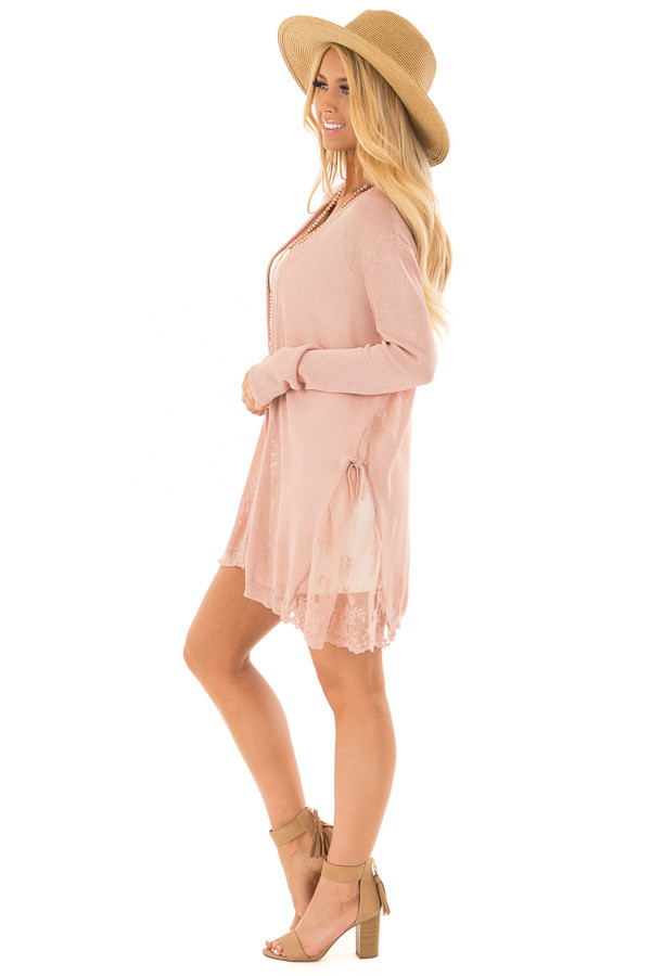 Blush Open Front Long Sleeve Cardigan with Lace Details side full body