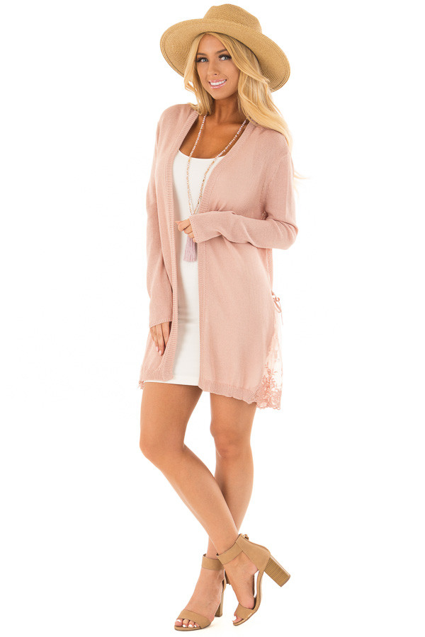 Blush Open Front Long Sleeve Cardigan with Lace Details front full body