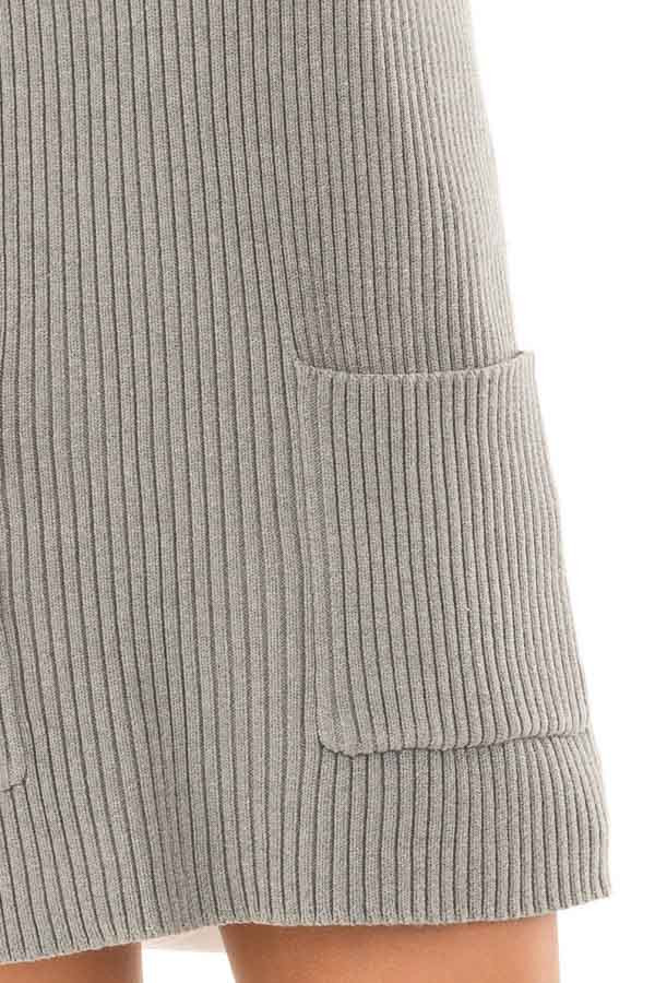 Heather Grey V Neck Sweater Dress with Front Pockets detail