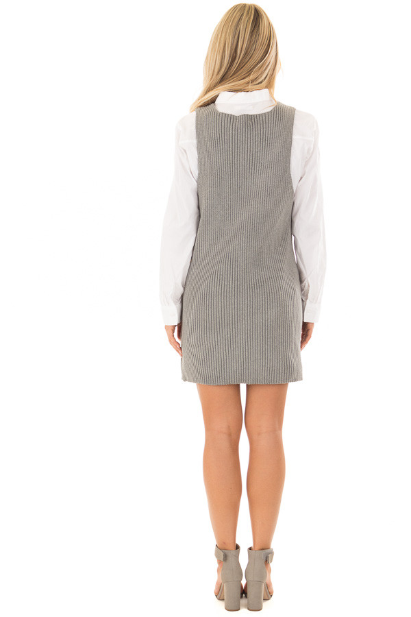 Heather Grey V Neck Sweater Dress with Front Pockets back full body