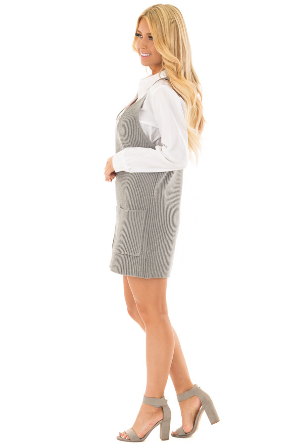 Heather Grey V Neck Sweater Dress with Front Pockets side full body